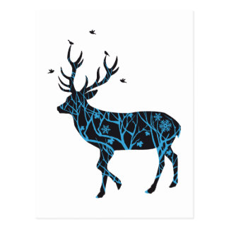 Christmas deer with winter tree pattern and birds post card