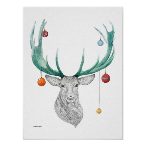 Christmas deer, Xmas, Holiday, New year 2015 Poster