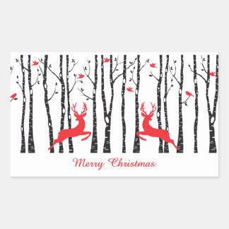 Christmas deers in birch tree forest rectangular sticker