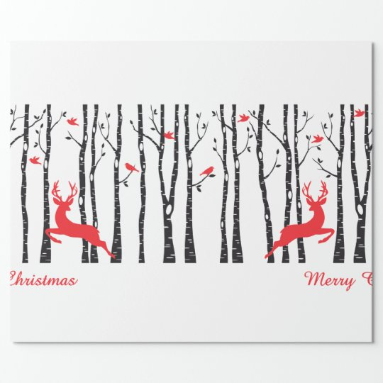 Christmas deers in birch tree forest wrapping paper