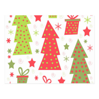 Christmas design - green and red postcard
