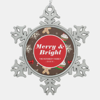 Christmas Dessert Pattern Snowflake Pewter Christmas Ornament