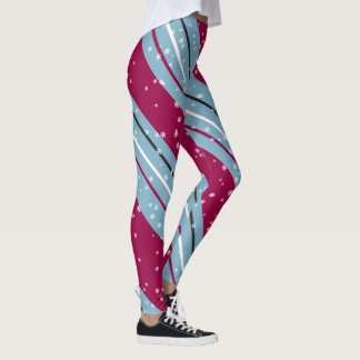 Christmas Diagonal Stripes Blue/Raspberry ID440 Leggings