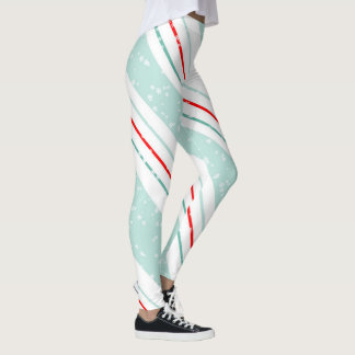 Christmas Diagonal Stripes Mint Green ID440 Leggings