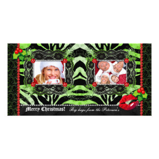 Christmas Diamonds n Lace Zebra Photo Template Customised Photo Card