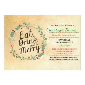 Christmas Dinner Eat Drink & Be Merry Xmas Invite