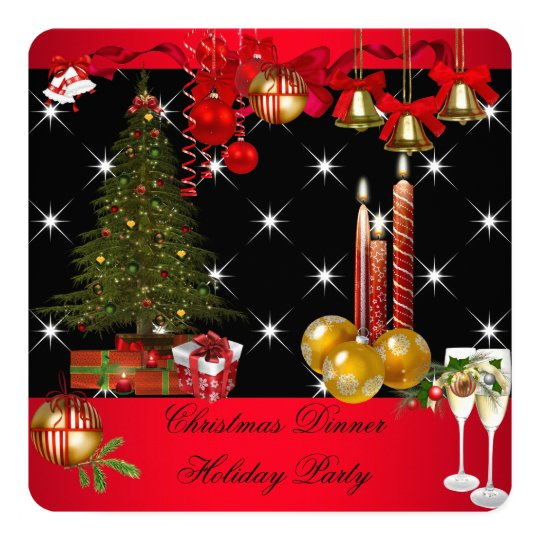 Christmas Dinner Holiday Party Red White 2 Card