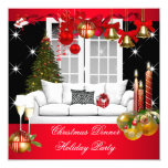 Christmas Dinner Holiday Party Red White 13 Cm X 13 Cm Square Invitation Card