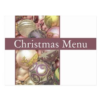 Christmas dinner menu card post card