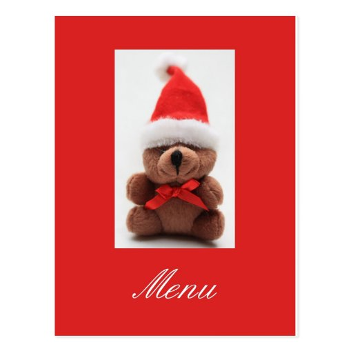 Christmas dinner menu card postcards