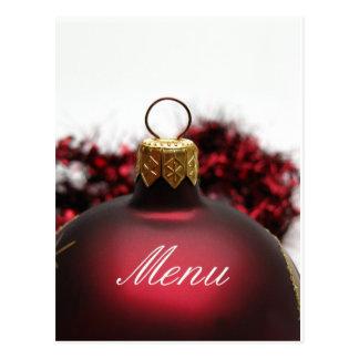 Christmas dinner menu card post cards
