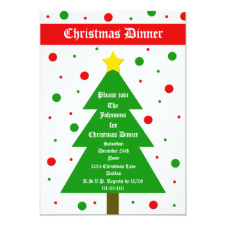 Christmas Dinner Party Invitation Christmas Tree