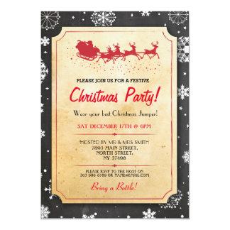 Christmas Dinner Party Santa Snow Reindeers Invite