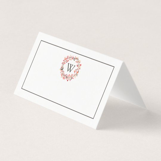 Christmas Dinner Place Card | Watercolor Wreath