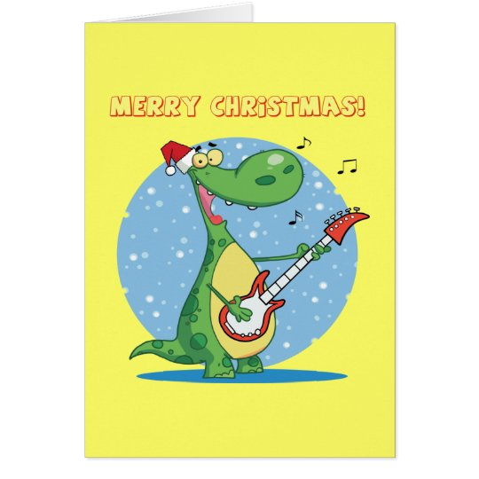 Christmas Dinosaur Playing Guitar Card