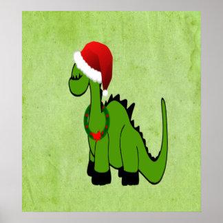 Christmas Dinosaur Poster