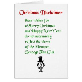 Christmas Disclaimer - a funny Christmas Poem Card