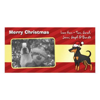 Christmas Doberman Pinscher (floppy ears) Customised Photo Card