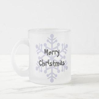 Christmas Doberman Pinscher (floppy ears) Frosted Glass Coffee Mug