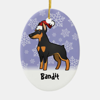 Christmas Doberman Pinscher (pointy ears) Ceramic Oval Decoration