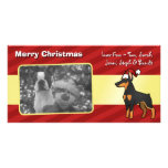 Christmas Doberman Pinscher (pointy ears) Photo Greeting Card