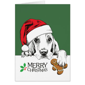 Christmas Dog Basset Hound Card