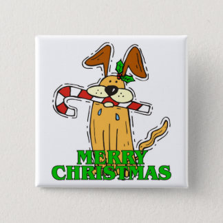 Christmas Dog & Candy Cane. 15 Cm Square Badge