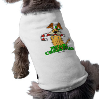 Christmas Dog & Candy Cane. Sleeveless Dog Shirt