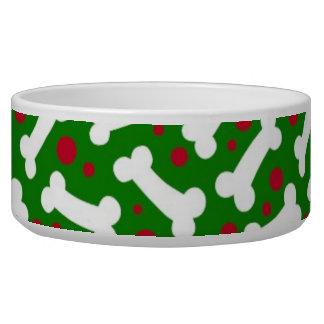Christmas Dog Dish Bones Pet Water Bowl
