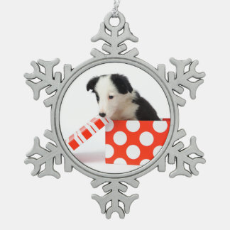 Christmas Dog In A Gift Box Snowflake Pewter Christmas Ornament