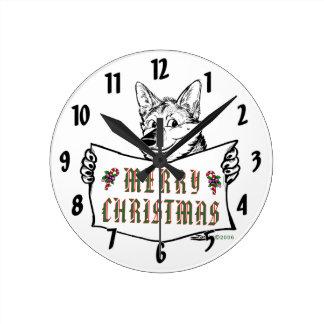 Christmas Dog:  Merry Christmas! Wall Clock