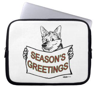 Christmas Dog:  Season's Greetings! Laptop Sleeve
