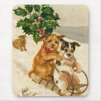 Christmas Dog Sled Mouse Pad