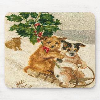 Christmas Dog Sled Mousepads