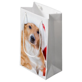 Christmas dog with antler and colorful gifts small gift bag