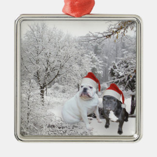 Christmas dogs christmas ornament