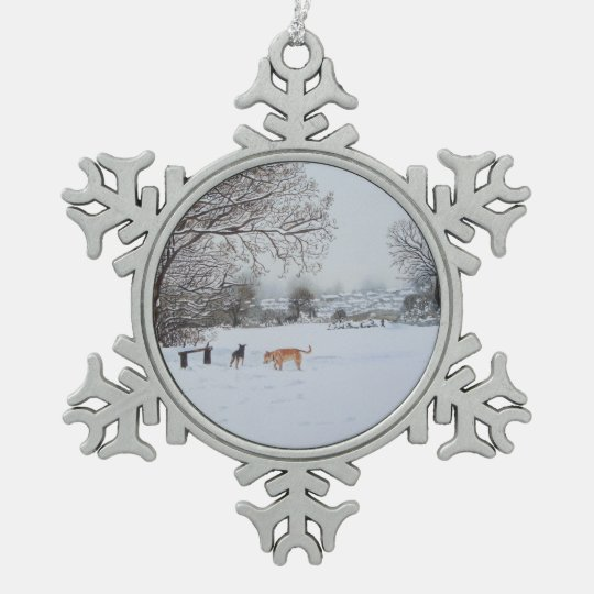 Christmas dogs snow scene landscape painting snowflake pewter