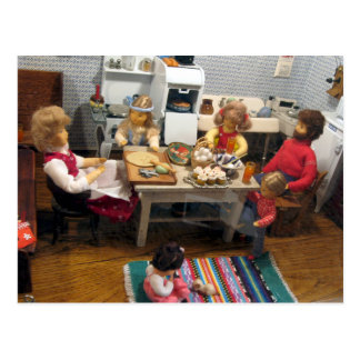 Christmas Dollhouse Kitchen Postcard