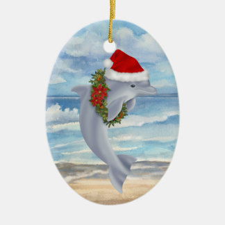 Christmas Dolphin Christmas Ornament