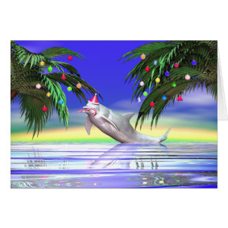 Christmas Dolphin Greeting Card