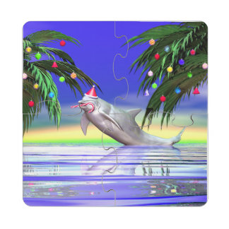 Christmas Dolphin Puzzle Coaster