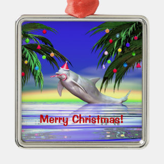 Christmas Dolphin Silver-Colored Square Decoration