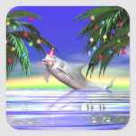 Christmas Dolphin Square Sticker