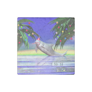 Christmas Dolphin Stone Magnet