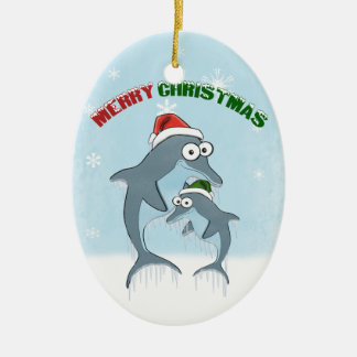 Christmas Dolphins Ornament