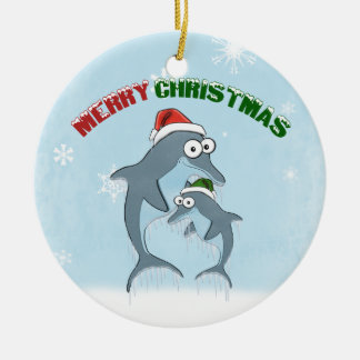 Christmas Dolphins Ornament (double sided)