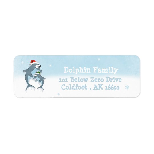 Christmas Dolphins Return Address Label