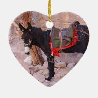 Christmas Donkey Ceramic Heart Decoration