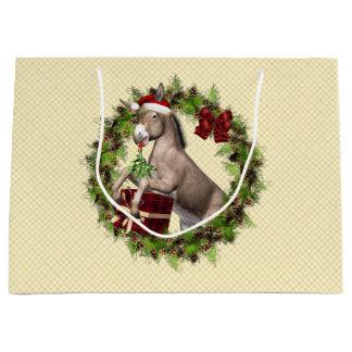 Christmas Donkey Santa Holiday Gift Bag