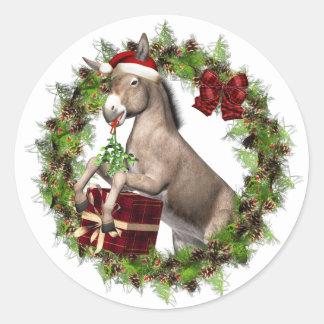 Christmas Donkey Santa Holiday Stickers